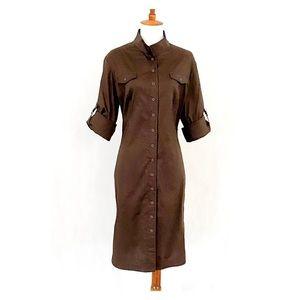 Tahari Polished Cotton Roll Tab Sleeve Shirt Dress